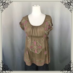Kimchi & Blue Tan Sleeveless Embroidered Top #2207
